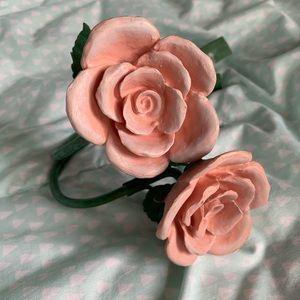 Pink Rose Drapery Tieback Wall-mount